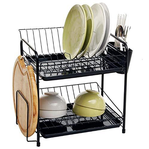 Rejilla para platos de cocina Rejilla de drenaje de 2 capas Caja de almacenamiento de vajilla no perforada