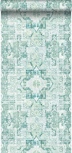 Tapete orientalisches Kelim-Patchwork Pastell Mintgrün - 148658 - von ESTAhome.nl