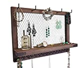 Large Rustic Chocolate Brown Farmhouse Vintage Wall Mounted Hanging Jewelry Organizer, Perfect Holder for Earrings Necklaces Bracelets-Gold Chicken Wire, Present for Women, Wife, Mom, Girlfriend