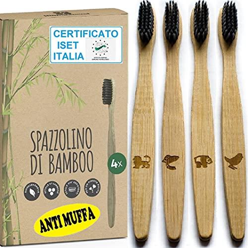 Spazzolino Bamboo Anti Muffa Setole Indistruttibili Carbone Attivo 100% Legno Naturale Biodegradabile Ecologico Riciclabile