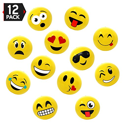 16' Emoji Party Pack Inflatable Beach Balls - Beach Pool Party Toys (12 Pack)