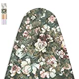 Encasa Homes Ironing Board Cover with 4mm Extra Thick Felt Pad for Steam Press - Green Roses - (Fits Standard Large Boards of 122 x 38 cm) Elastic Fitting, Heat Reflective, Protective