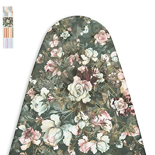 Encasa Homes Replacement Ironing Board Cover with Extra Thick Pad, Made in India, Standard (Fits Wide Boards 18 x 49 inch) Elasticated, Scorch Resistant, Durable - Green Roses