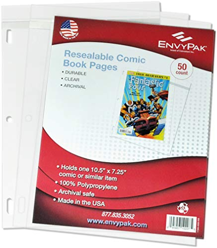 EnvyPak Resealable Comic Book Bags/Sleeves with Holes for...