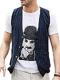 Runcati Mens Linen Cotton Suit Button Up Vest Casual Striped Basic Lightweight Slim Fit Pockets Waistcoat (Medium, Navy)