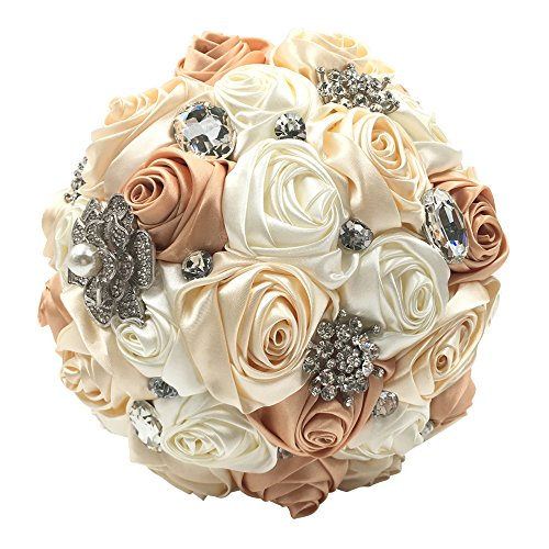 Abbie Home Silk Bridal Bouquet with Crystal Rhinestones Rose Wedding Flowers (Ivory + Champagne)