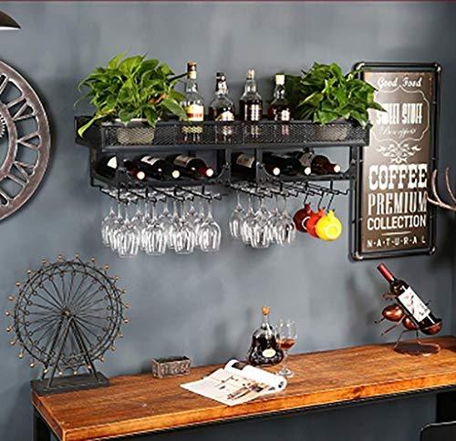 FYHH-JZHY Soporte para Copas De Vino Colgante para Botellero Montado En La Pared |Almacenamiento De Portabotellas De Vino Vintage (Color: Negro, Tamaño: 80X35Cm), Latón, 100X35Cm