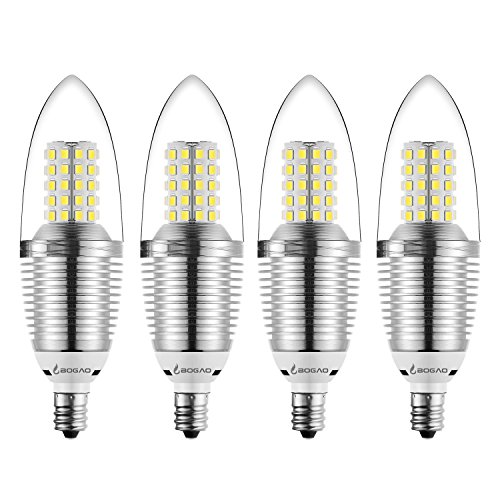 Bogao (4 Pack LED Candelabra Bulb, 12W Daylight White 6000K LED Candle Bulbs, 85-100 Watt Light Bulbs Equivalent, E12 Candelabra Base,1200Lumens LED Lights,Torpedo Shape