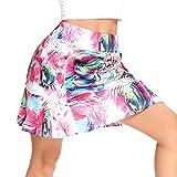 WOWENY Women's Athletic Tennis Skorts Skirts for Women Running Golf Skort with Pockets (Print Pink, M)