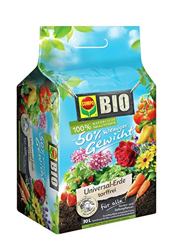 COMPO BIO Universal-Erde mit Schafwolle für Balkon- und Gartenpflanzen, ca. 50% weniger Gewicht, Torffrei, Kultursubstrat, 30 Liter, Braun