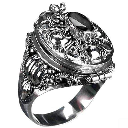 Piratenladen Gift-Ring mit Onyx, 925er Silber-Ring, Gothic, Stein - 56
