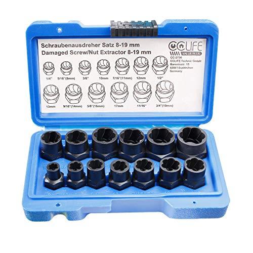 CCLIFE 13 piezas de extractor de tuercas dañados & extraer tornillos, juego de herramientas para extraer pernos dañados