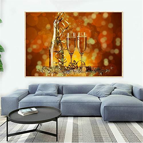 GJQFJBS Leinwand Druck Obst Weinglas Trinken Bier Barrel Küche Dekoration Champagner Wohnzimmer Home Art Dekoration A3 40x50 cm