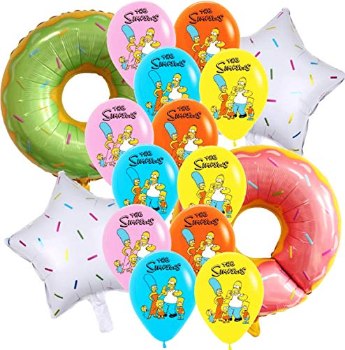16PC Donut FOIL Latex The Simpsons Balloons Party Supplies Decoration Theme Birthday A2