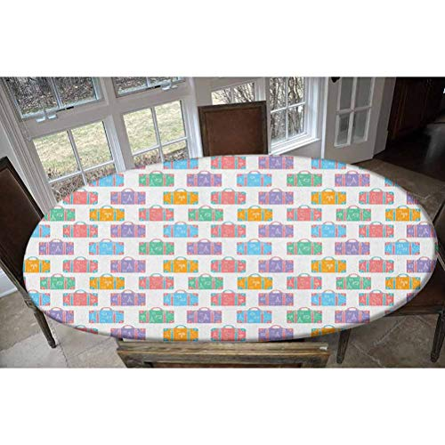 LCGGDB Elastic Polyester Fitted Table Cover,Travel Holiday Themed Suitcases with Simplistic Eiffel Airplane and Heart Doodles Oblong/Oval Dinner Fitted Table Cloth,Fits Tables up to 48' W x 68' L