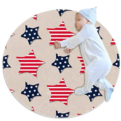 Haminaya Alfombra redonda antideslizante niños círculo alfombra circular alfombra lavable a máquina, patrón estrella rojo azul marino rayas