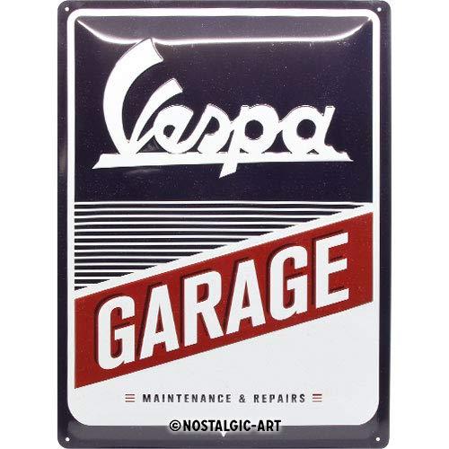 Nostalgic-Art Retro Blechschild Vespa – Garage – Geschenk-Idee für Roller Fans, aus Metall, Vintage-Design zur Dekoration, 30 x 40 cm