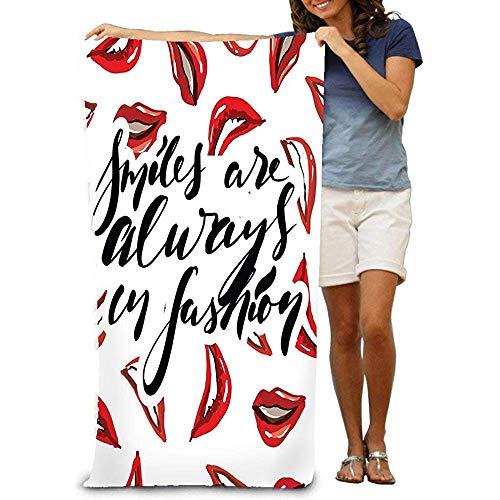 chillChur-DD Bath Towel Asciugamani da spiaggia Unisex Asciugamani da bagno per Ragazze adolescenti Asciugamano da viaggio Sorriso Salvietta Citazione Moda Lettering a Mano Poster di borse Design