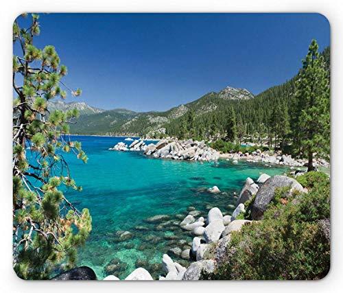 Alfombra RatónAlfombrilla de ratón Lake, Lake Tahoe Shore Rocks Water Mousepad 25 X 30 CM