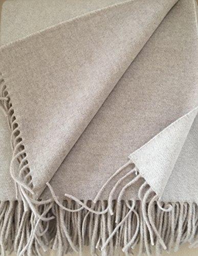 Wollplaid doppelseitig mit Kaschmirwolle, Wolldecke, Sofadecke, Tagesdecke 135x185 cm 50prozent Kaschmir Wolle 50prozent Merino Wolle
