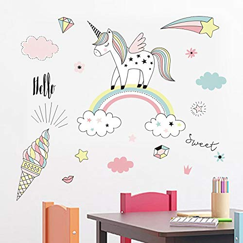Behang van PVC regenboog eenhoorn ijs, muursticker DIY creatief voor kinderen, 40 x 40 cm