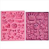 SWHV M0226 Corona de Dibujos Animados y Pajarita de Silicona, Molde para Pasteles y Magdalenas, gelatina de Caramelo bombón Pastel, decoración, moldes de Herramientas para Hornear (Color : A)