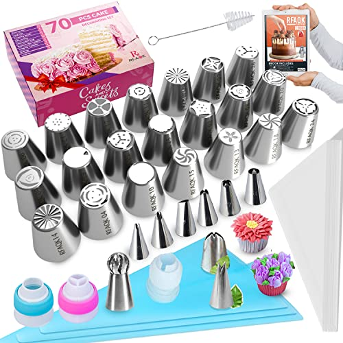 70Pcs Russian Piping Tips Set-Numbered Flower Frosting Tips Cake...