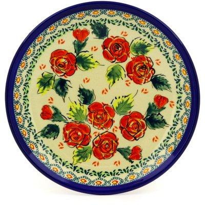 Polish Pottery Dessert Plate 7-inch Polish Roses UNIKAT