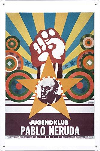 Placa de metal de placa de metal de placa de latão da República Democrática Alemã - Pablo Neruda Youth Club