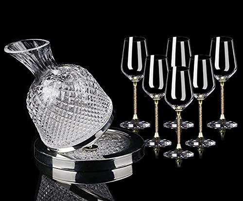 HAOWGH Gyro Decanter, 1.5L Creative Gyro-Tipo Gyro Decantador Decantador Vacador Whisky Decanter Brandy Decanter Birthday Friendship Accesorios De Vino Regalo (Size : Wine Bottle+6 Glasses 420ML)