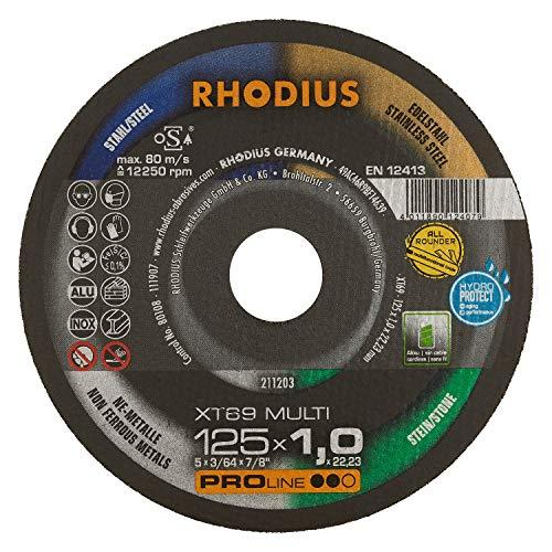 RHODIUS extra dünne Trennscheibe Metall Stein Kunststoff XT69 MULTI Box Ø 125 mm Allroundtrennscheibe INOX 10 Stück