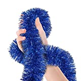 Christmas Tree Royal Blue Tinsel Garland Metallic Streamers Celebrate a Holiday Hanukkah Party Happy New Year Party Ceiling Hanging Decorations Indoor and Outdoor Disco Party Supplies