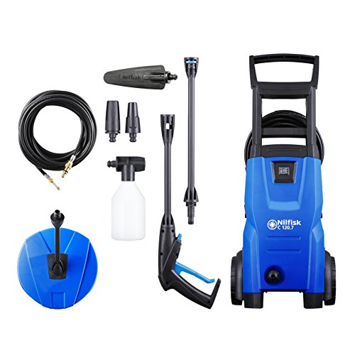 Nilfisk C 120 bar 120.7-6 PCAD UK Compact Pressure Washer for Basic Tasks Outdoor Cleaner with Patio, Car Cleaning and Drain Accessories, 1500 W, 240 V, Blue, 8.4 kg