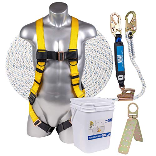 ATERET Fall Protection Roofing Bucket Kit I Full-Body Harness, 50' Vertical Rope & Anchor Set I Construction Fall Arrest Kit