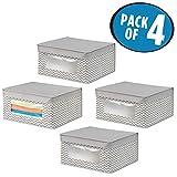 mDesign 4er-Set Stoffbox – Aufbewahrungsbox aus Stoff mit Zick-Zack-Muster – ideal zur Ablage von Kleidung, Decken, Accessoires und als Schrankbox – Aufbewahrungskiste mit praktischem Deckel – taupe - 2