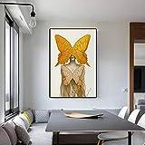 baodanla Pintura al óleo sin Marco Impresión de Retrato Abstracto Lienzo de Estilo nórdico Chica ngyellow con Mariposa Imágenes de Pared Modernas para Vivir R40x60cm