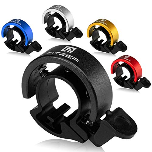 FITZER - Fahrradklingel - 5 versch. Farben - Klarer Klang - Klingel Fahrrad - Optimale Lautstärke (schwarz)