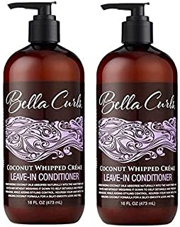 Bella Curls Coconut Whipped Creme Leave-In Conditioner 16 Fl Oz Each (Pack of 2)