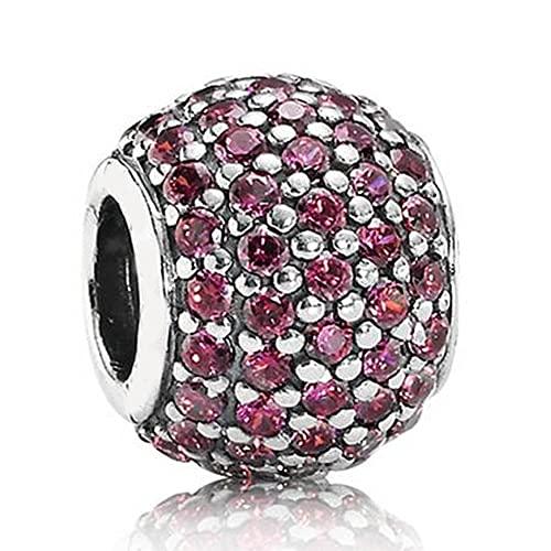 Pandora 925 Plata de Ley DIY Charm Bead Pave Bola brillante con cuentas de cristal completas para mujer Pulsera de joyería