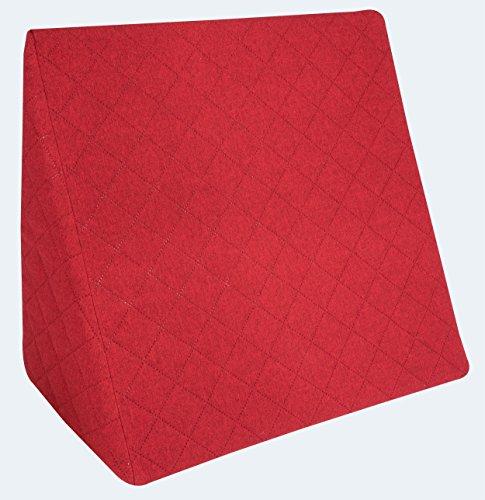 Sabeatex® Rückenkissen, Keilkissen für Couch und Sofa, Lesekissen für bequemes Sitzen. 5 Unifarben für trendiges Wohndesign. Louge-oder Palettenkissen Größe 60 cm x 50 cm x 30 cm (rot)