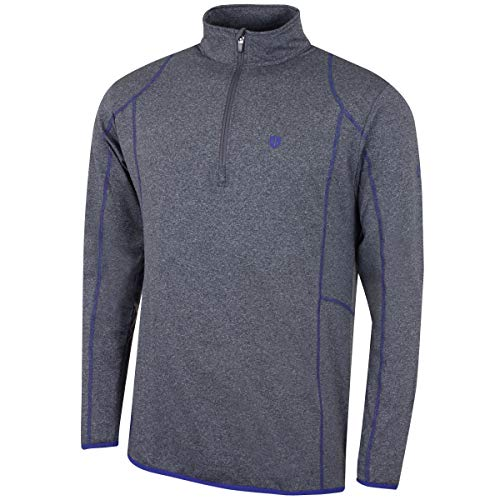 Island Green Golf IGMID1736 Mens Thermal Sports Top Mid Layer Zip Neck Sports Top Grey MarlEstoril Blue Large