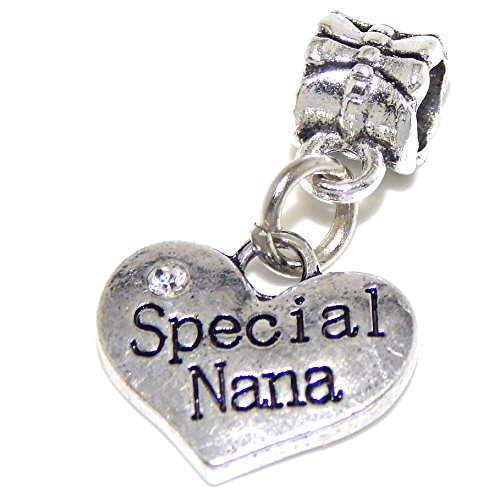 GemStorm Silver Plated Dangling Special Nana Heart w/ Crystal For European Snake Chain Bracelets