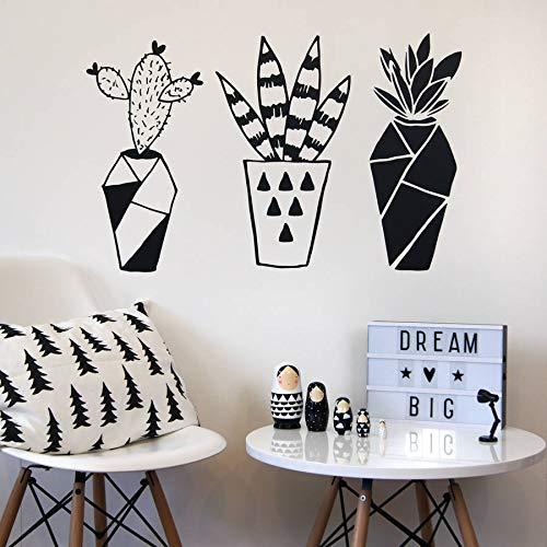 Pegatinas de pared, vinilo adhesivo geométrico cactus plantas en macetas calcomanías de pared extraíbles papel tapiz mural 57x90cm