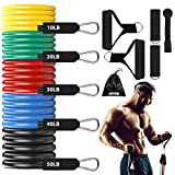 Guguda Exercise Resistance Bands Set with Handles, Fitness Workout Bands Pull up to 150 lbs, Training Tubes with Legs Ankle Straps Door Anchor for Men and Women Resistance Training