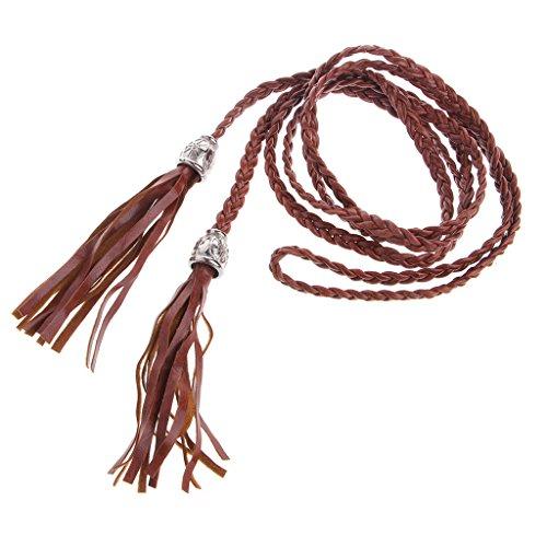 ZOOMY Señoras Mujer Cinturón Trenzado PU Cuero Borla Auto-Tie Cinturón de Cuerda Fina - Camel