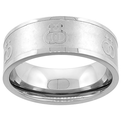 Sabrina Silver Stainless Steel Lesbian Symbols Ring 8mm Wedding Band, Size 6