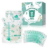 Lictin Bolsas Leche Materna- 60PCS Bolsas Almacenamiento Leche Materna de 240ml sin BPA BPS, Diseño Engrosado, Seguro de Usar