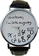 Oliviavan, 1PC Hot Women Leather Watch Whatever I am Late Anyway Letter Watches Black Sample low-key style