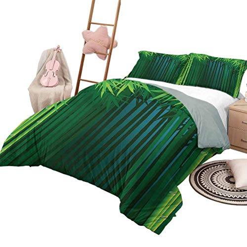 Daybed Quilt Set Exotic for Boys and Girls Stems with Leaves Exotic Lands Fantasy Zen Garden Ecology Theme Full Size Green Dark Green Blue