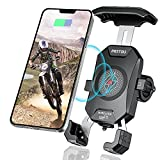 iMESTOU Motorcycle Wireless Phone Mount Charger Qi 15W & USB C 3.0A Charge Simultaneously by Plugging to 12V/24V Vehicle/USB A Socket with Aluminium Handlebar Base 360 Rotation for 4.0-7.0' Cellphones